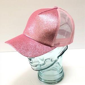Accessories - Pink Glitter Ponytail Baseball Cap Trucker Hat